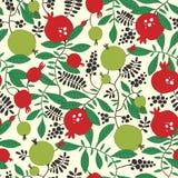 Nahtloses Muster des Granatapfel- und Apfelbaums Lizenzfreie Stockfotos