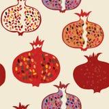 Nahtloses Muster des Granatapfels lustig Lizenzfreie Stockbilder