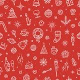 Nahtloses Muster des guten Rutsch ins Neue Jahr Hand gezeichnete verschiedene Elemente Lizenzfreie Abbildung