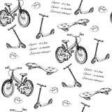 Nahtloses Muster des Hand gezeichneten Babyfahrrades, Roller, Wellenbrett Lizenzfreie Stockfotos