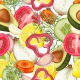 Nahtloses Muster des Hand gezeichneten Gemüses Stockfotos