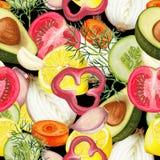 Nahtloses Muster des Hand gezeichneten Gemüses Stockfotografie