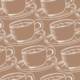 Nahtloses Muster des Handabgehobenen betrages Tasse Kaffee, Teezeit Auch im corel abgehobenen Betrag stock abbildung