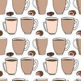 Nahtloses Muster des Handabgehobenen betrages Tasse Kaffee, Teezeit Auch im corel abgehobenen Betrag vektor abbildung