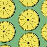 Nahtloses Muster des Handabgehobenen betrages von Zitronen mit Blättern Auch im corel abgehobenen Betrag lizenzfreie abbildung