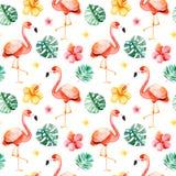 Nahtloses Muster des handgemalten Aquarells mit mehrfarbiger Blume, tropische Blätter, Flamingovogel Stockbilder