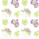 Nahtloses Muster des Handgezogenen Aquarells, das Blumen und aus Blättern von Lotus besteht vektor abbildung