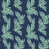 Nahtloses Muster des Handgezogenen Aquarells von natürlichen Niederlassungen des Laubs, grüne Blätter auf blauem Hintergrund stock abbildung