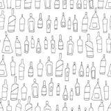 Nahtloses Muster des Handgezogenen Schwarzweiss-Vektors mit Gekritzelweinflaschen Skizzenzeichnung lizenzfreie abbildung
