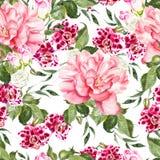 Nahtloses Muster des hellen Aquarells mit Blumenrosen, -pfingstrose und -orchideen Stockbilder