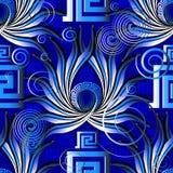 Nahtloses Muster des hellen blauen griechischen abstrakten Vektors Modernes ornam stockfotos