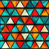 Nahtloses Muster des hellen Dreiecks der Weinlese mit Schmutzeffekt Stockfoto