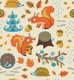 Nahtloses Muster des Herbstes mit Eichhörnchen, Blättern, Nüssen und Bürstenschnitt vektor abbildung