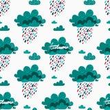 Nahtloses Muster des Herbstes mit regnerischen Wolken Lizenzfreies Stockbild