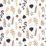 Nahtloses Muster des Herbstes mit wilden Florenelementen Die gezeichnete Hand verlässt, Blumen, Kräuter, Eicheln vektor abbildung