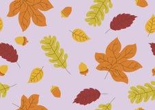 Nahtloses Muster des Herbstlaubs und des Eichelfallhintergrundes Lizenzfreies Stockfoto