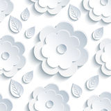 Nahtloses Muster des Hintergrundes mit grauen Blumen und Blättern Stockbilder