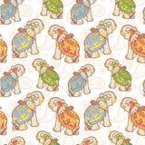 Nahtloses Muster des indischen Elefanten Stockbilder