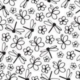 Nahtloses Muster des Insektengekritzels Vektor Vektor Abbildung
