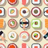 Nahtloses Muster des japanischen Lebensmittelsushi-Vektors Lizenzfreie Stockbilder