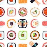 Nahtloses Muster des japanischen Lebensmittelsushi-Vektors Lizenzfreies Stockfoto