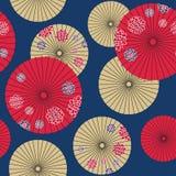 Nahtloses Muster des japanischen Regenschirmes Stockfotografie