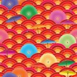 Nahtloses Muster des japanischen Regenschirmhalbkreises Stockfoto