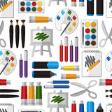Nahtloses Muster des künstlerischen Werkzeugs Lizenzfreies Stockfoto