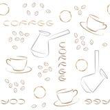 Nahtloses Muster des Kaffees mit Kaffeebohnen, Türken und Schalen stock abbildung