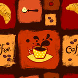 Nahtloses Muster des Kaffees und des Hörnchens Stock Abbildung