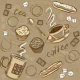 Nahtloses Muster des Kaffees und des Kuchens Auch im corel abgehobenen Betrag Lizenzfreies Stockbild