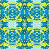 Nahtloses Muster des Kaleidoskops von Blauem und von Gelbem stockbilder