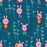 Nahtloses Muster des Kaninchenspiels Lizenzfreie Stockfotografie