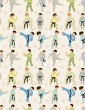 Nahtloses Muster des Karikatur-Karate-Spielers Lizenzfreie Stockfotos