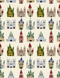Nahtloses Muster des Karikatur-Märchenschlosses Lizenzfreie Stockfotografie
