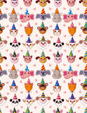 Nahtloses Muster des Karikatur-Party-Tierkopfes Stockfotografie