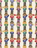 Nahtloses Muster des Karikatur-Spielzeugsoldaten Lizenzfreie Stockfotografie