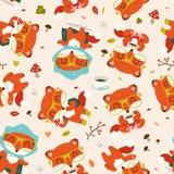 Nahtloses Muster des Karikaturfall-Fuchses Lizenzfreies Stockbild