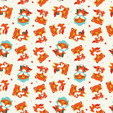 Nahtloses Muster des Karikaturfall-Fuchses Lizenzfreies Stockfoto