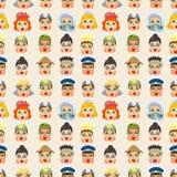 Nahtloses Muster des Karikaturleutejob-Gesichtes Lizenzfreies Stockfoto