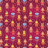 Nahtloses Muster des Karikaturweihnachtspartytieres Stockbild