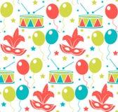 Nahtloses Muster des Karnevals Sich wiederholende Beschaffenheit Purim Feiertag, Maskerade, Festival, Geburtstagsfeier Endloser H stock abbildung