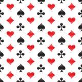 Nahtloses Muster des Kasinos mit Kartenklagen Auch im corel abgehobenen Betrag Stockbild