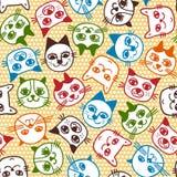 Nahtloses Muster des Katzengesichtes Lizenzfreies Stockfoto