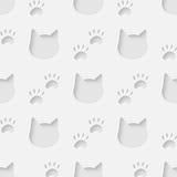 Nahtloses Muster des Katzenkopf- und -tatzenschattenbildes Stockbilder