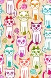 Nahtloses Muster des Katzenstranges Lizenzfreie Stockfotos