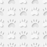Nahtloses Muster des Katzentatzen-Schattenbildes Lizenzfreie Stockbilder