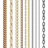 Nahtloses Muster des Kettenlink-Stärkeverbindungs-Vektors des Metalls verband Teile und starkes Zeichen des Eisenausrüstungsschut Stockfotos