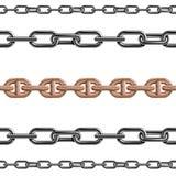 Nahtloses Muster des Kettenlink-Stärkeverbindungs-Vektors des Metalls verband Teile und starkes Zeichen des Eisenausrüstungsschut Lizenzfreies Stockfoto