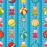 Nahtloses Muster des Kinderspielzeugs Gestaltungselement für Postkarte, Fahne, Flieger Lizenzfreie Stockbilder